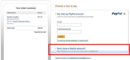 "Just click on ""Don't have a Paypal account"" if you want to donate by card"