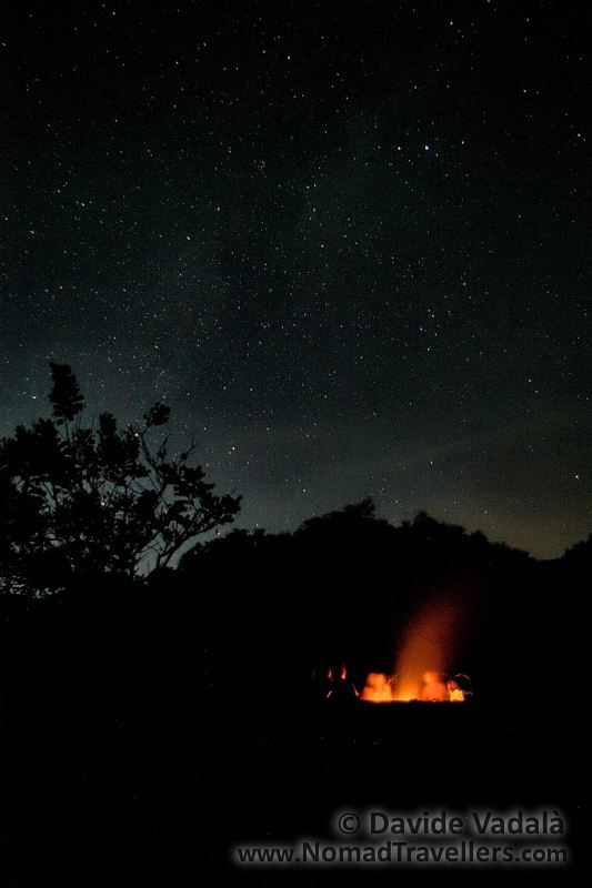 Quiet in front of a bonfire and under the stars of Sound of Sand