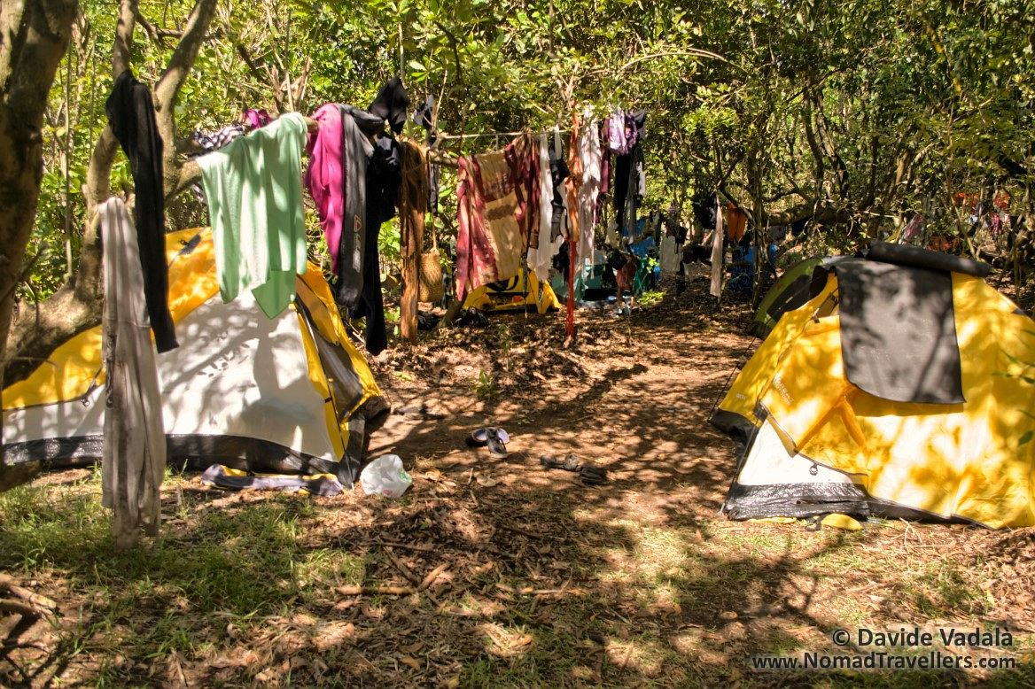 Day after the storm: lines full of drying clothes