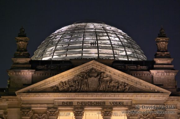 The transparent dome of the German Parliament (Bundestag) at night