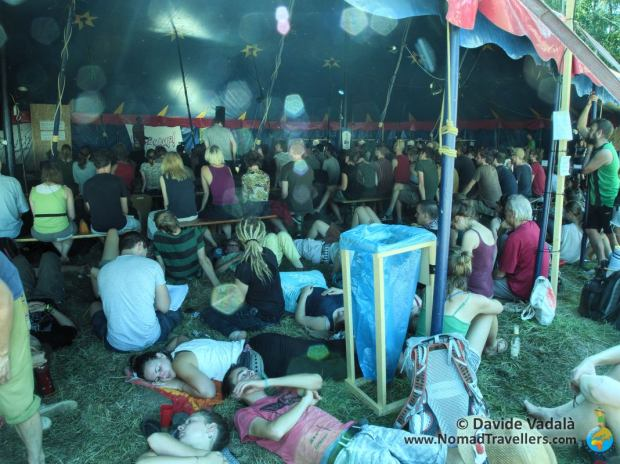 One of the plenary gatherings under the circus tent