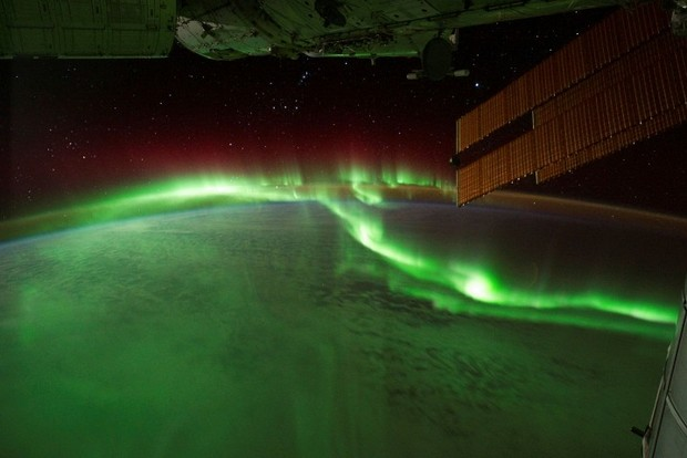 Aurora Borealis seen from the International Space Station in the space. Credit: NASA