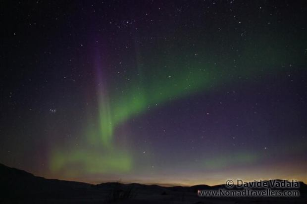 As soon as the sun is setting at the horizon, the Aurora is already visible