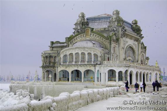 Exterior view of the Casino in winter 2012 with the frozen Black Sea