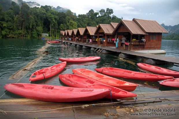 Kayaks ready to be used by the guests of the complex
