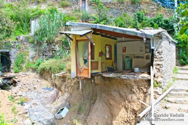 An house destroyed by the floods in Cinque Terre