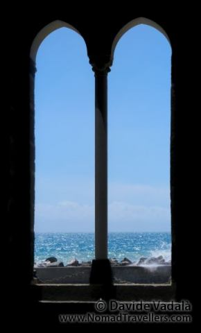Sea in Cinque Terre seen from a window