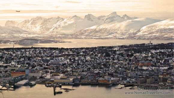 The city of Tromsø seen from the mountain