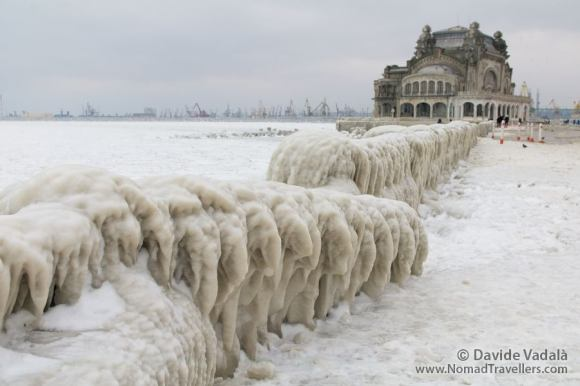 Amazing Ice sulptures produced by the frozen Black Sea, with the Casino of Constanta in the background
