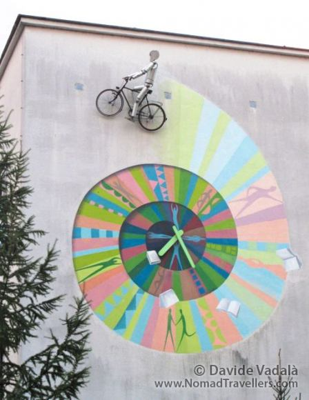 A piece of art representing a cyclist in Ljubiana