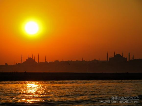 Sunset over Istanbul seen from the Bosphorus