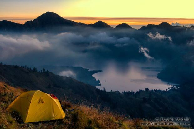 Sunset view from our tent on the ridge of Mount Rinjani