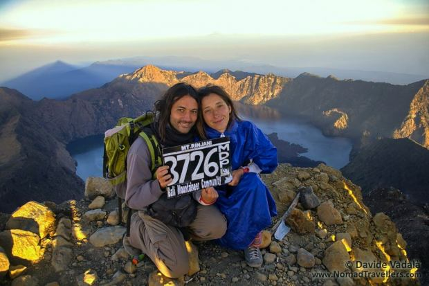 Davide and Oti on top of Mount Rinjani