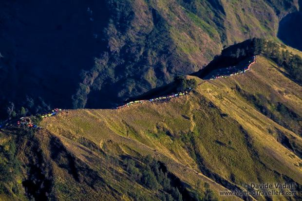 Long line of tents while approaching the ridge of Rinjani