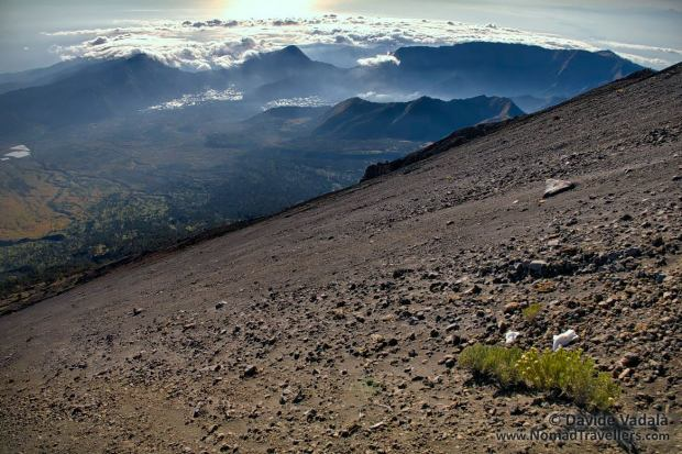 The steep and slippery slopes of Rinjani Crater