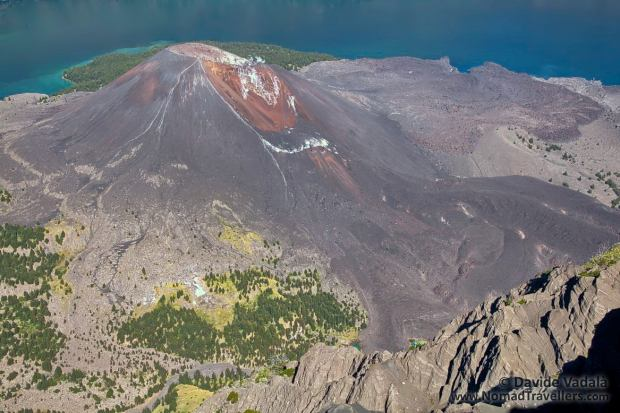 Mount Jani volcano and its frozen lava flow
