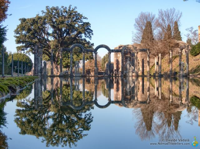 Reflections in the water in the Canopus in Villa Adriana