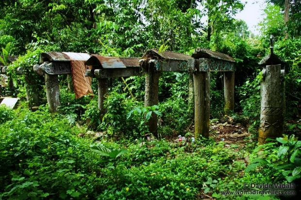 Dayak graves in front of Eheng Longhouse