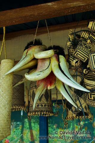 Hornbill's peaks for sale with other Dayak traditional handicrafts