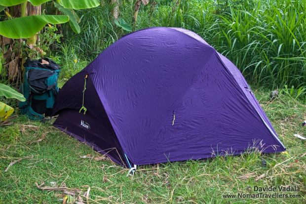Rainfly set up of the Luxe Outdoor Sil Habitat tent