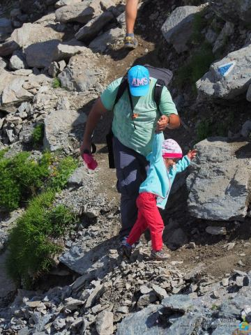 A kid hiking with her dad