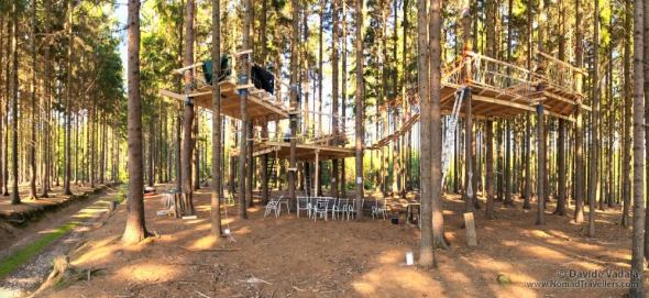 View of the tree house made of 5 connected platforms, we built during the training
