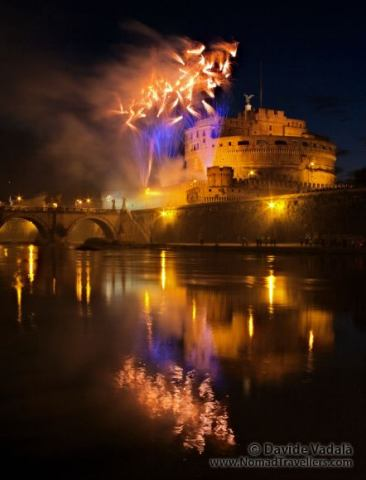 Fireworks in front of Castel Sant Angelo in Rome