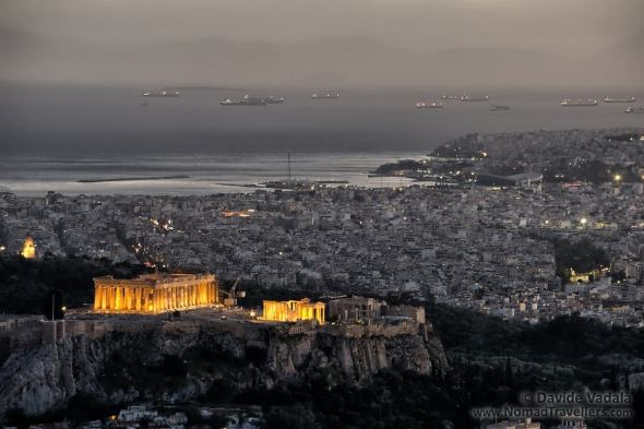 The Parthenon at night seen from Lycabettus Hill
