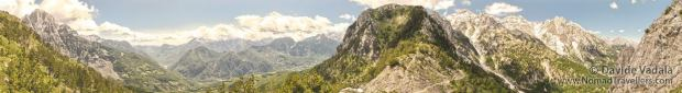 Panoramic photo taken from the pass between Valbona and Thethi