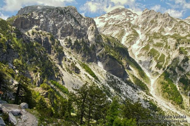 Rocky peaks painted with the colors of vegetation and snow in the Accursed Mountains